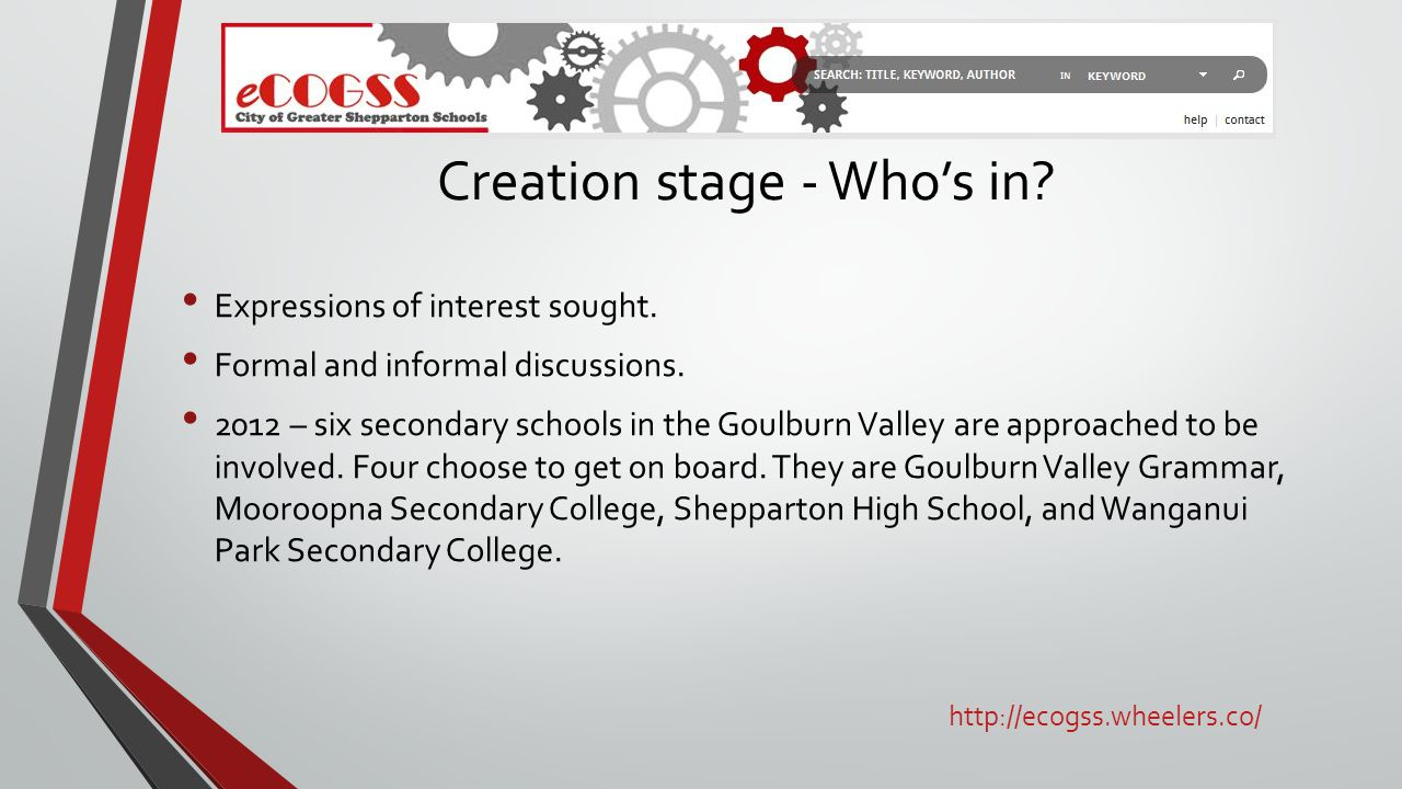 Creation stage - Who's in. Expressions of interest sought.