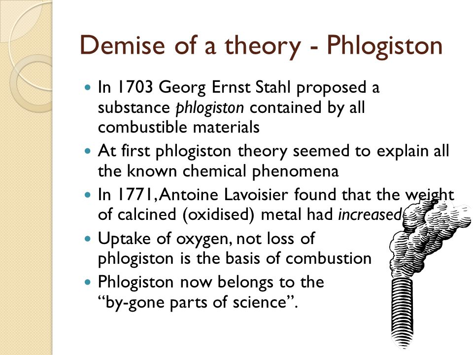 Demise of a theory - Phlogiston In 1703 Georg Ernst Stahl proposed a substance phlogiston contained by all combustible materials At first phlogiston theory seemed to explain all the known chemical phenomena In 1771, Antoine Lavoisier found that the weight of calcined (oxidised) metal had increased Uptake of oxygen, not loss of phlogiston is the basis of combustion Phlogiston now belongs to the by-gone parts of science .