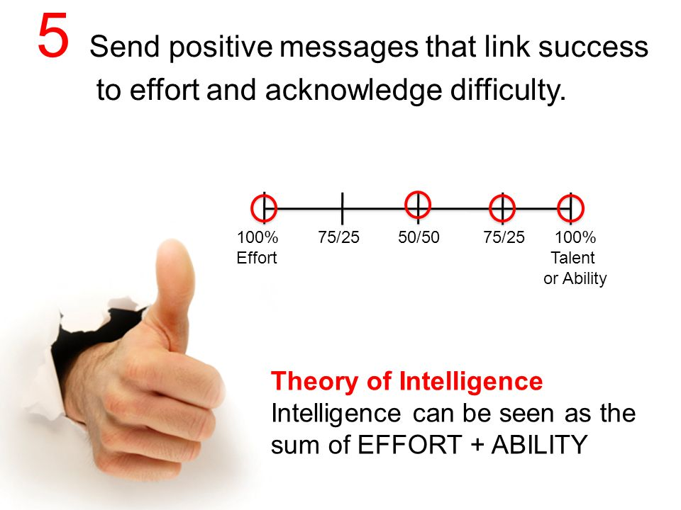 5 Send positive messages that link success to effort and acknowledge difficulty.