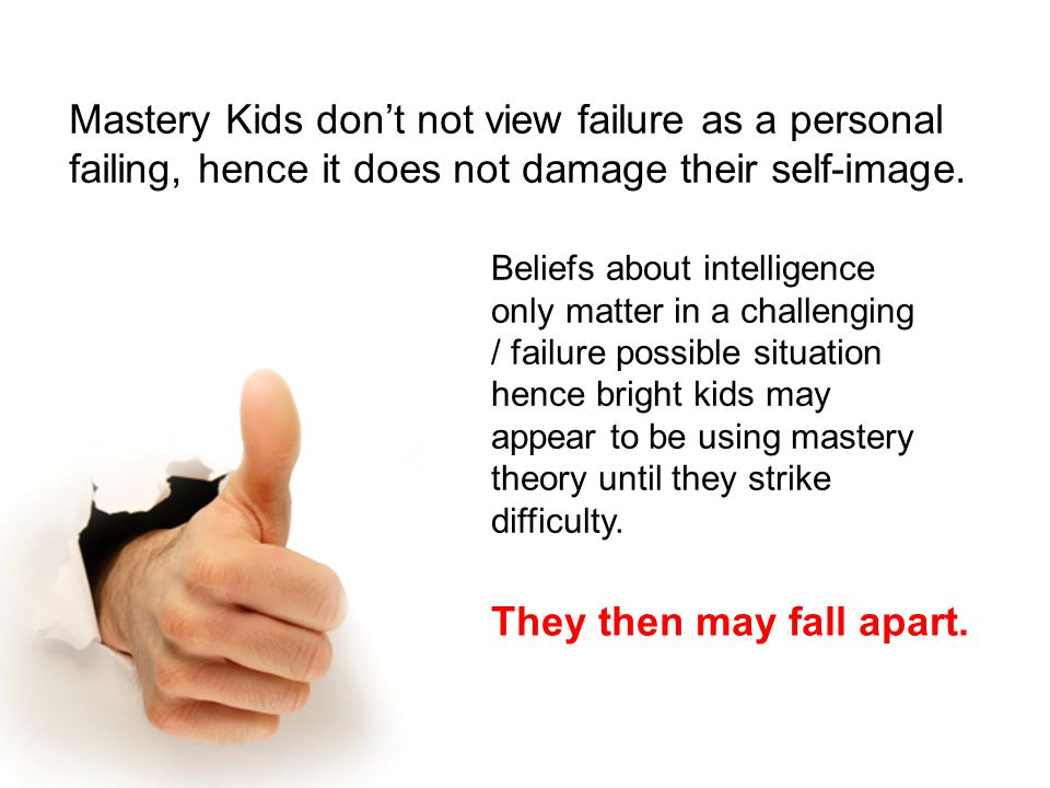 Mastery Kids don't not view failure as a personal failing, hence it does not damage their self-image.