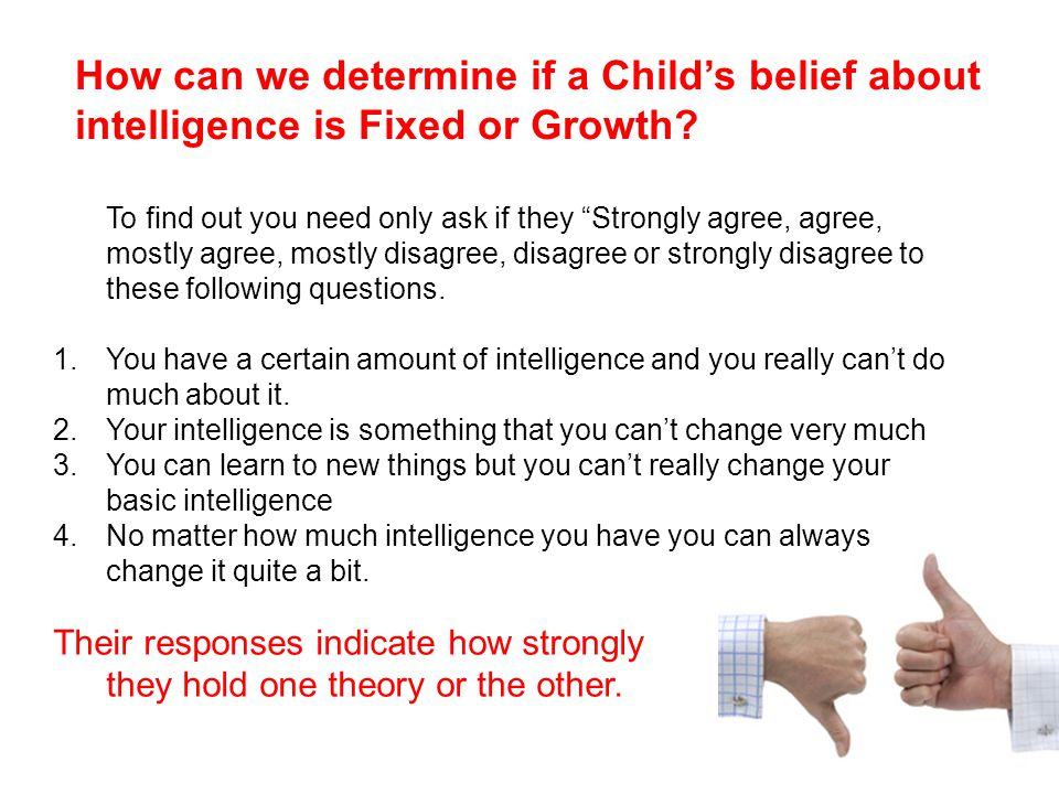 How can we determine if a Child's belief about intelligence is Fixed or Growth.