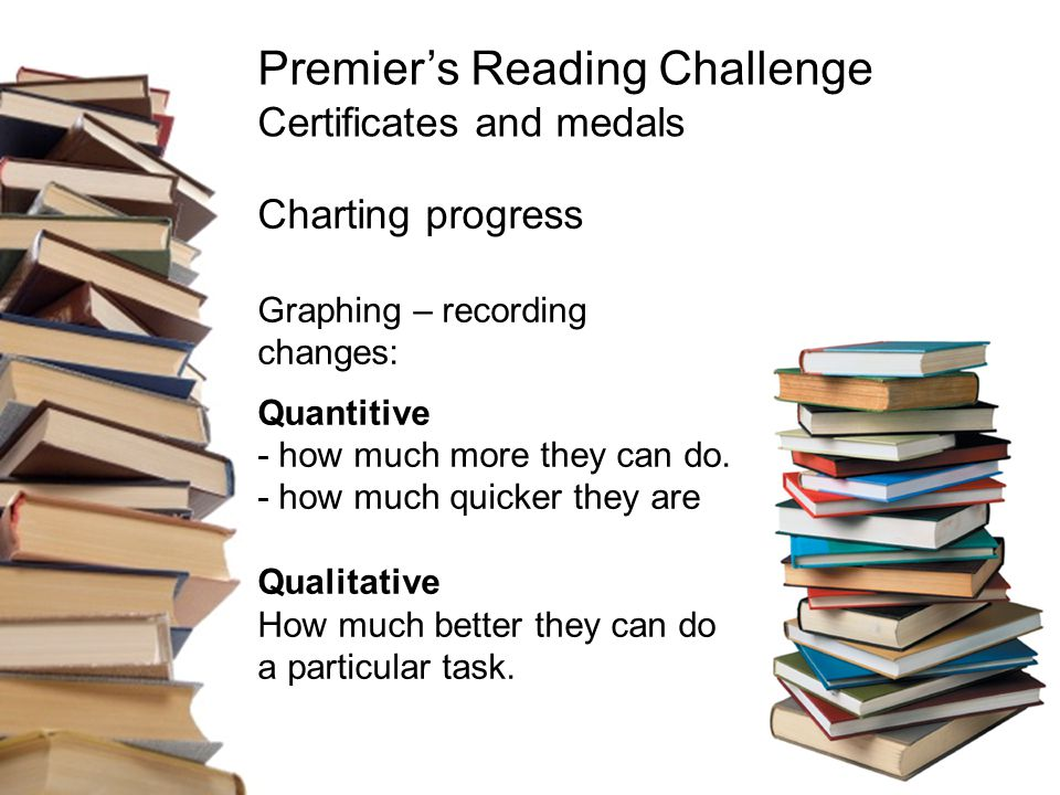 Premier's Reading Challenge Certificates and medals Charting progress Graphing – recording changes: Quantitive - how much more they can do.