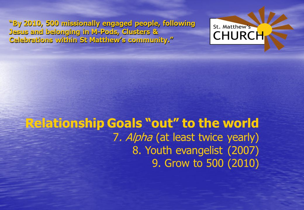 By 2010, 500 missionally engaged people, following Jesus and belonging in M-Pods, Clusters & Celebrations within St Matthew's community. Relationship Goals out to the world 7.