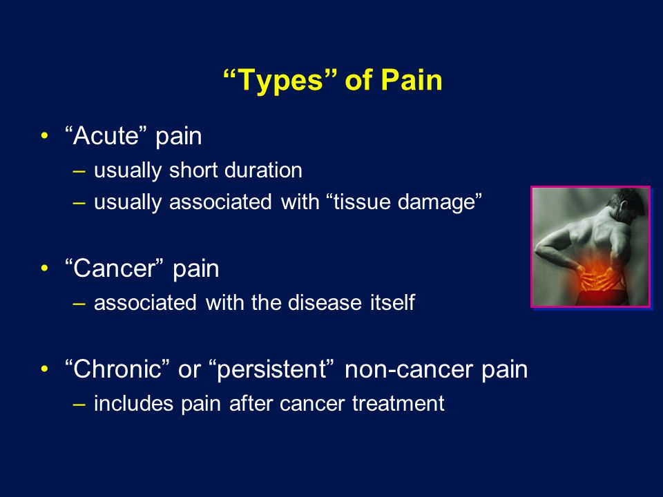 Types of Pain Acute pain –usually short duration –usually associated with tissue damage Cancer pain –associated with the disease itself Chronic or persistent non-cancer pain –includes pain after cancer treatment