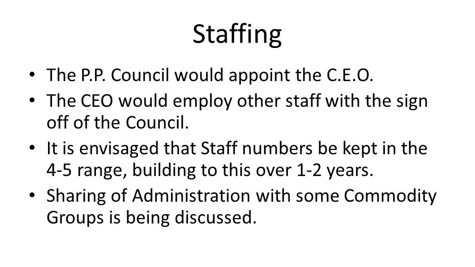 Staffing The P.P. Council would appoint the C.E.O.