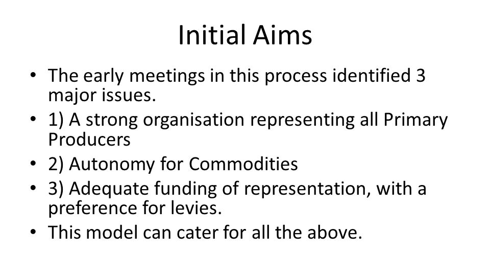 Initial Aims The early meetings in this process identified 3 major issues.