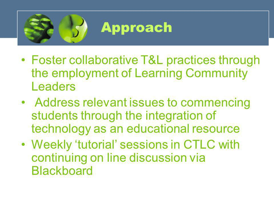 Approach Foster collaborative T&L practices through the employment of Learning Community Leaders Address relevant issues to commencing students through the integration of technology as an educational resource Weekly 'tutorial' sessions in CTLC with continuing on line discussion via Blackboard