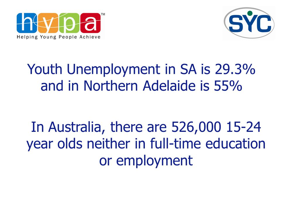 Youth Unemployment in SA is 29.3% and in Northern Adelaide is 55% In Australia, there are 526,000 15-24 year olds neither in full-time education or employment