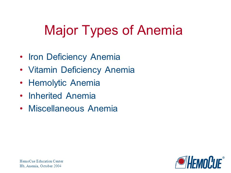 HemoCue Education Center Hb, Anemia, October 2004 Major Types of Anemia Iron Deficiency Anemia Vitamin Deficiency Anemia Hemolytic Anemia Inherited Anemia Miscellaneous Anemia