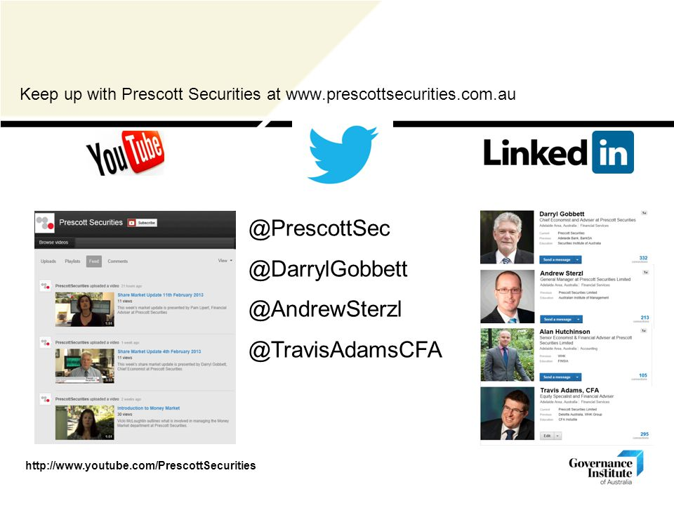 Keep up with Prescott Securities at www.prescottsecurities.com.au @PrescottSec @DarrylGobbett @AndrewSterzl @TravisAdamsCFA http://www.youtube.com/PrescottSecurities
