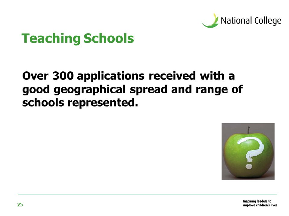 25 Over 300 applications received with a good geographical spread and range of schools represented.