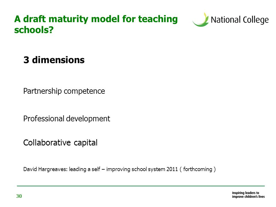 30 3 dimensions Partnership competence Professional development Collaborative capital David Hargreaves: leading a self – improving school system 2011 ( forthcoming ) A draft maturity model for teaching schools