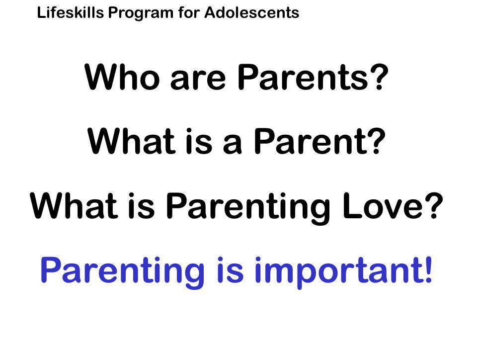 Lifeskills Program for Adolescents Who are Parents.