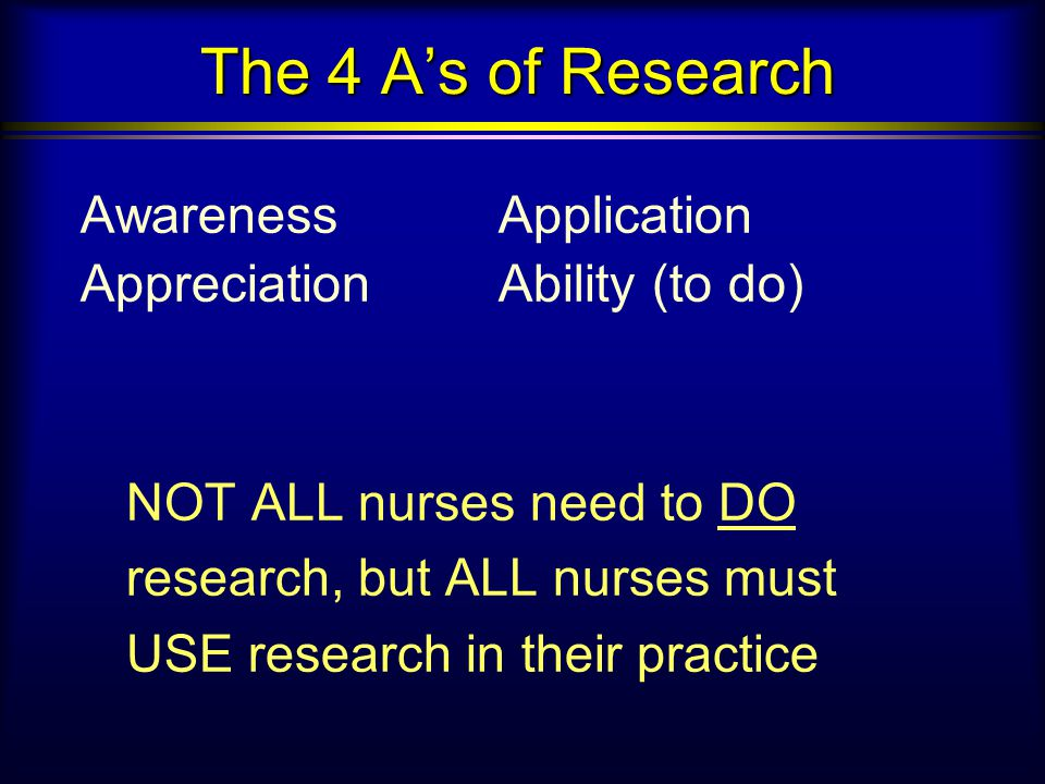 The 4 A's of Research AwarenessApplication AppreciationAbility (to do) NOT ALL nurses need to DO research, but ALL nurses must USE research in their practice
