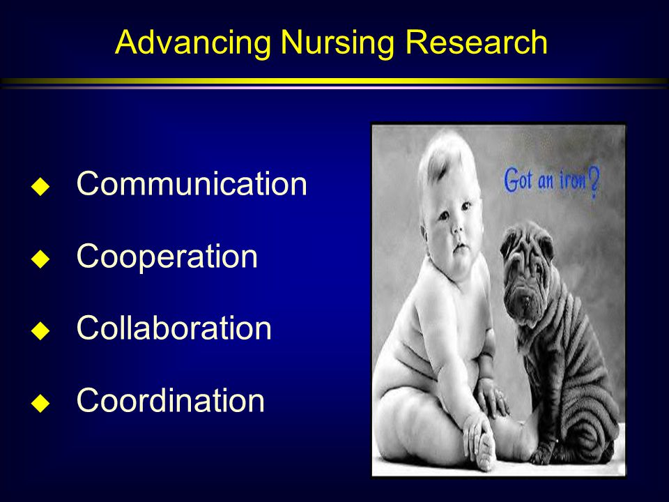 u Communication u Cooperation u Collaboration u Coordination Advancing Nursing Research
