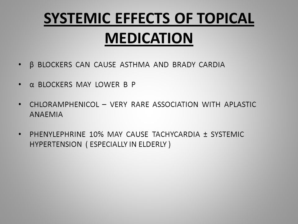 SYSTEMIC EFFECTS OF TOPICAL MEDICATION β BLOCKERS CAN CAUSE ASTHMA AND BRADY CARDIA α BLOCKERS MAY LOWER B P CHLORAMPHENICOL – VERY RARE ASSOCIATION WITH APLASTIC ANAEMIA PHENYLEPHRINE 10% MAY CAUSE TACHYCARDIA ± SYSTEMIC HYPERTENSION ( ESPECIALLY IN ELDERLY )