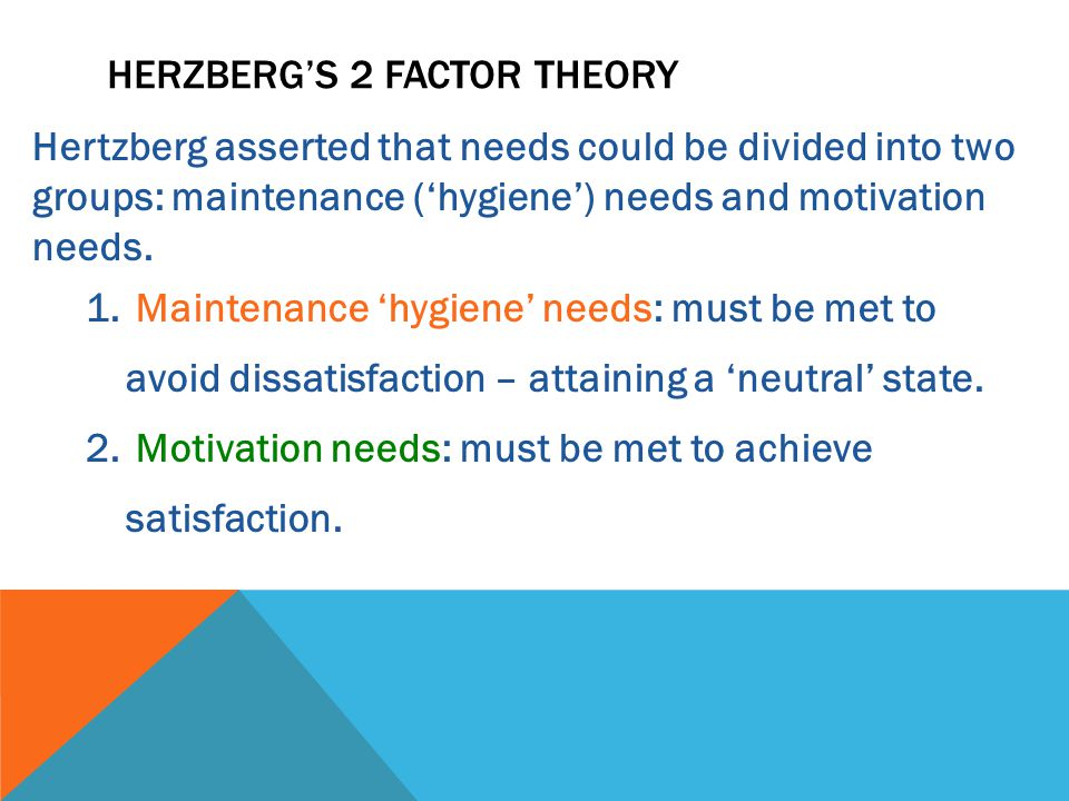Hertzberg asserted that needs could be divided into two groups: maintenance ('hygiene') needs and motivation needs.
