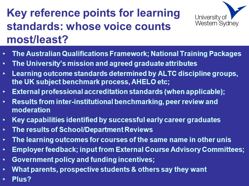 Key reference points for learning standards: whose voice counts most/least.