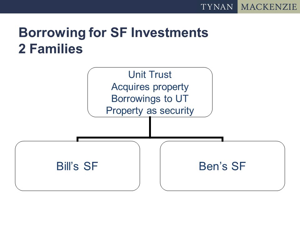 Borrowing for SF Investments 2 Families Unit Trust Acquires property Borrowings to UT Property as security Bill's SFBen's SF