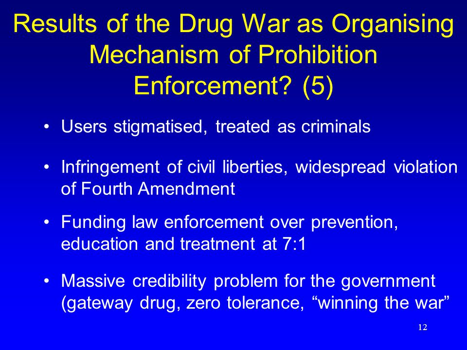 12 Results of the Drug War as Organising Mechanism of Prohibition Enforcement.