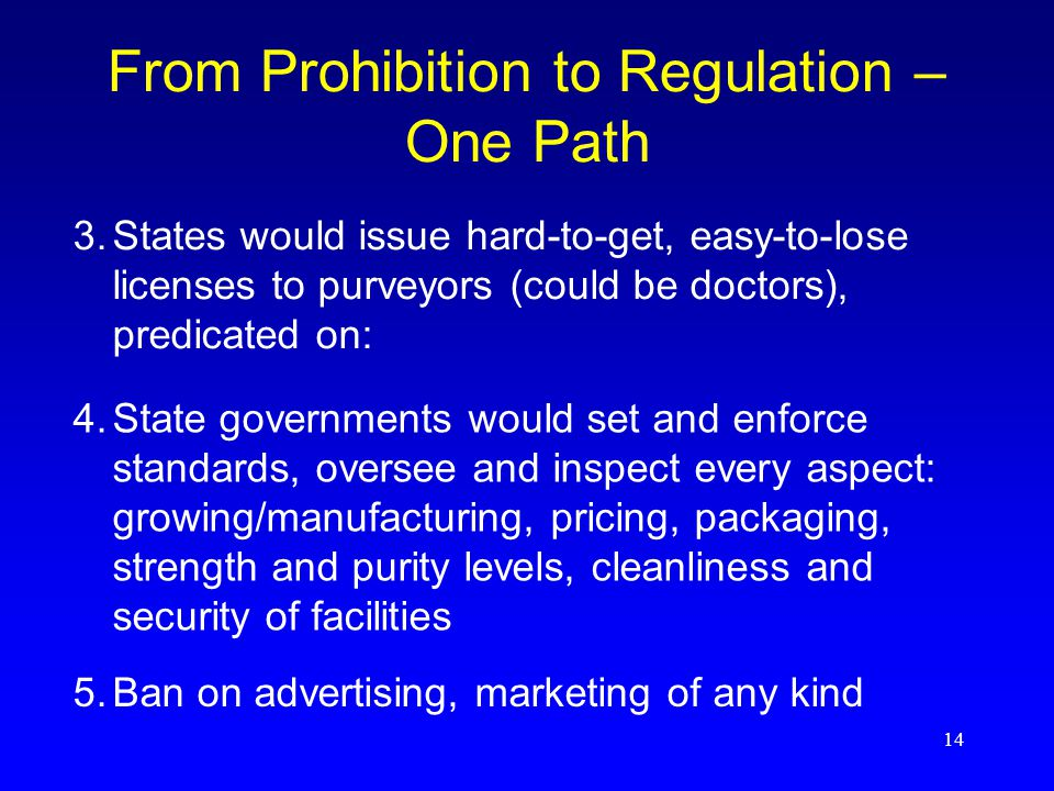 14 From Prohibition to Regulation – One Path 4.State governments would set and enforce standards, oversee and inspect every aspect: growing/manufacturing, pricing, packaging, strength and purity levels, cleanliness and security of facilities 3.States would issue hard-to-get, easy-to-lose licenses to purveyors (could be doctors), predicated on: 5.Ban on advertising, marketing of any kind