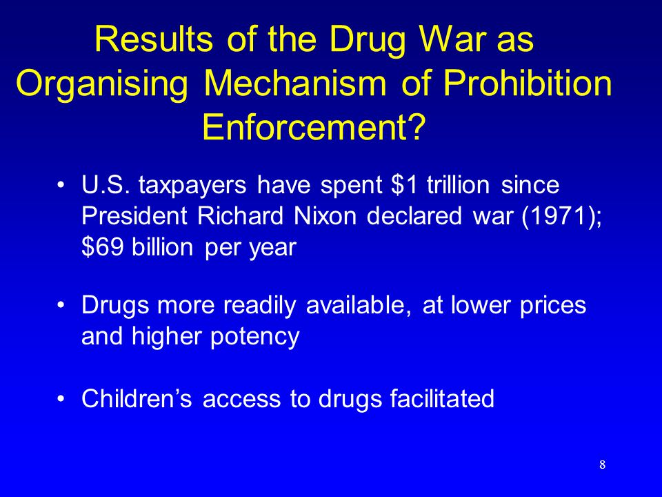8 Results of the Drug War as Organising Mechanism of Prohibition Enforcement.