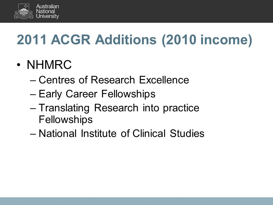 2011 ACGR Additions (2010 income) NHMRC –Centres of Research Excellence –Early Career Fellowships –Translating Research into practice Fellowships –National Institute of Clinical Studies