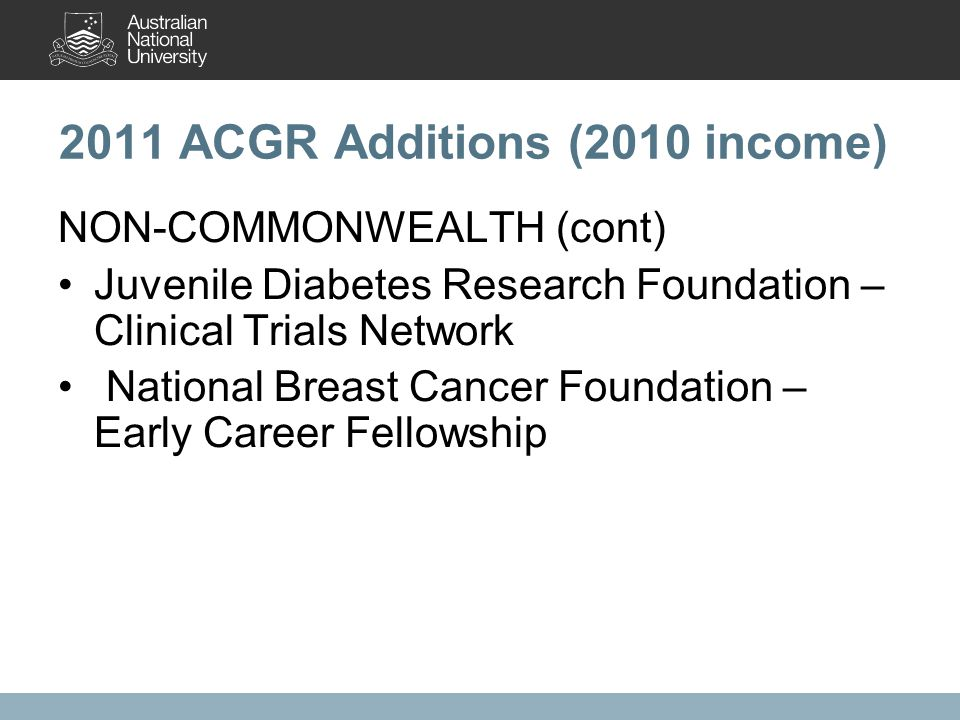 2011 ACGR Additions (2010 income) NON-COMMONWEALTH (cont) Juvenile Diabetes Research Foundation – Clinical Trials Network National Breast Cancer Foundation – Early Career Fellowship
