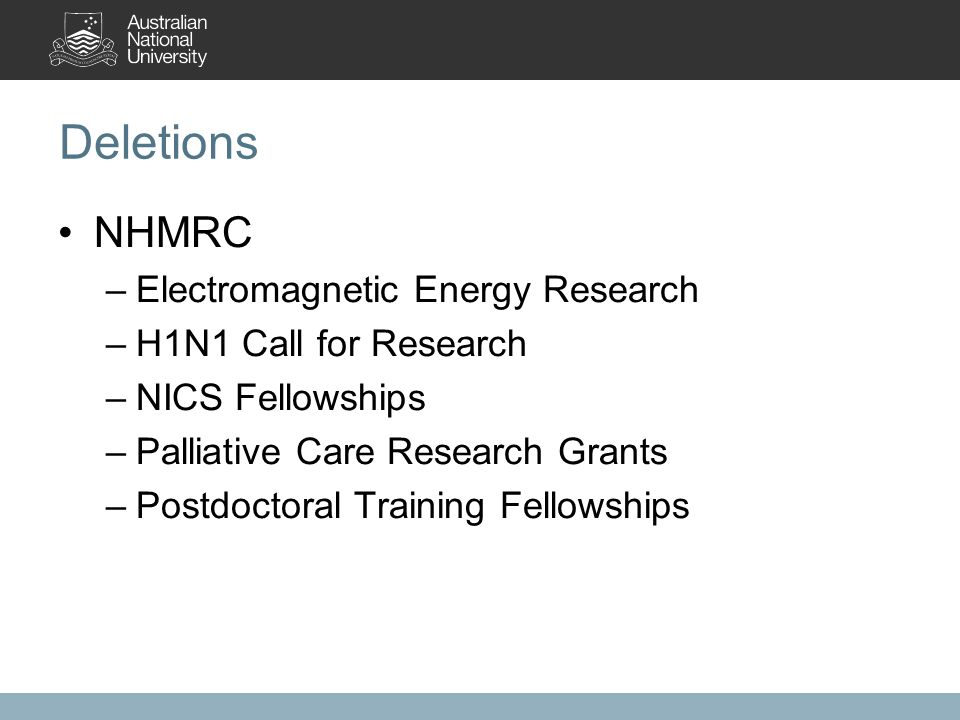 Deletions NHMRC –Electromagnetic Energy Research –H1N1 Call for Research –NICS Fellowships –Palliative Care Research Grants –Postdoctoral Training Fellowships