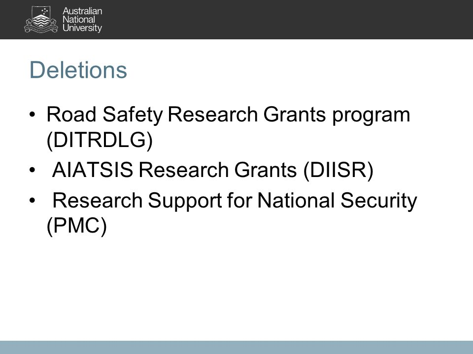 Deletions Road Safety Research Grants program (DITRDLG) AIATSIS Research Grants (DIISR) Research Support for National Security (PMC)