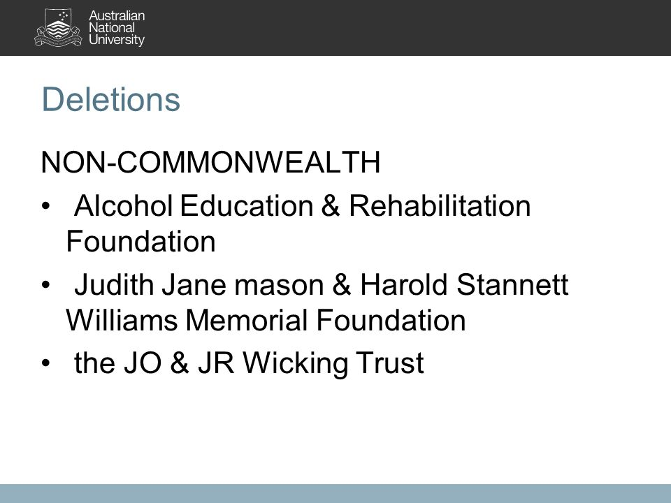 Deletions NON-COMMONWEALTH Alcohol Education & Rehabilitation Foundation Judith Jane mason & Harold Stannett Williams Memorial Foundation the JO & JR Wicking Trust