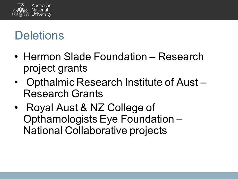 Deletions Hermon Slade Foundation – Research project grants Opthalmic Research Institute of Aust – Research Grants Royal Aust & NZ College of Opthamologists Eye Foundation – National Collaborative projects