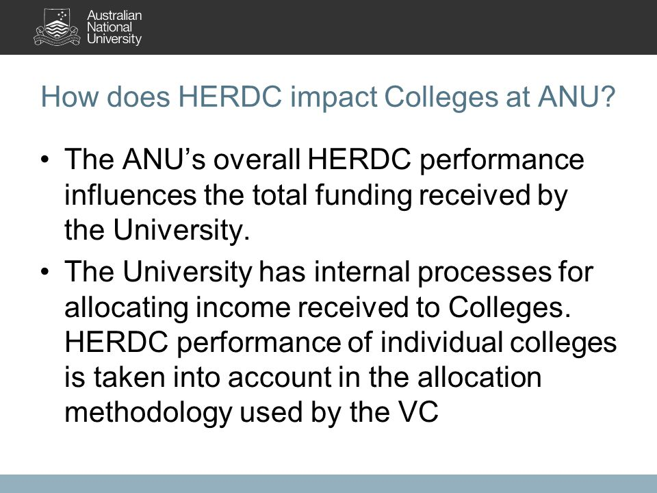 How does HERDC impact Colleges at ANU.