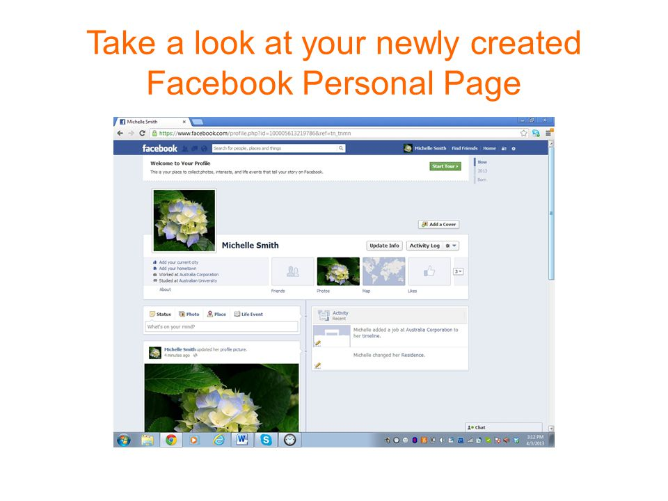 Take a look at your newly created Facebook Personal Page