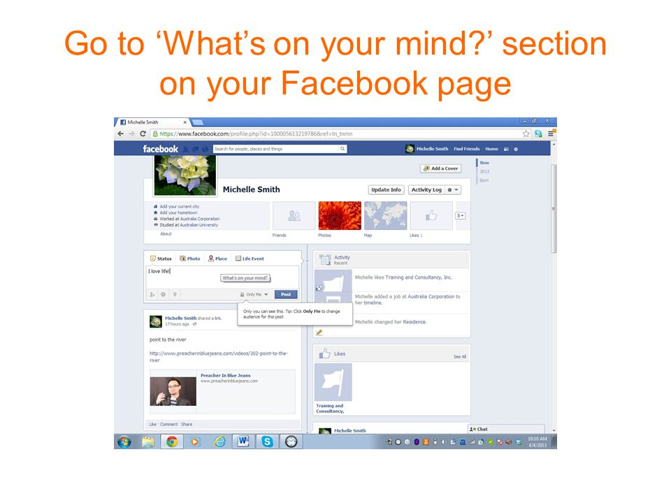 Go to 'What's on your mind ' section on your Facebook page