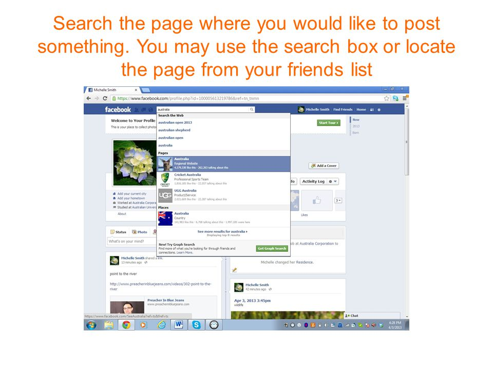 Search the page where you would like to post something.