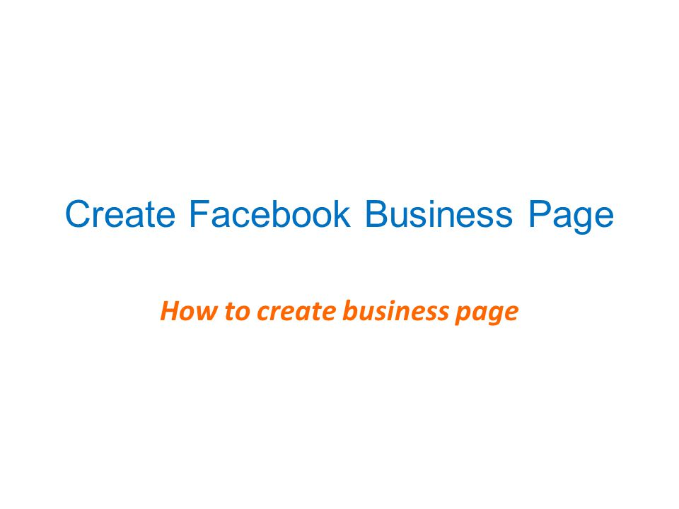 Create Facebook Business Page How to create business page