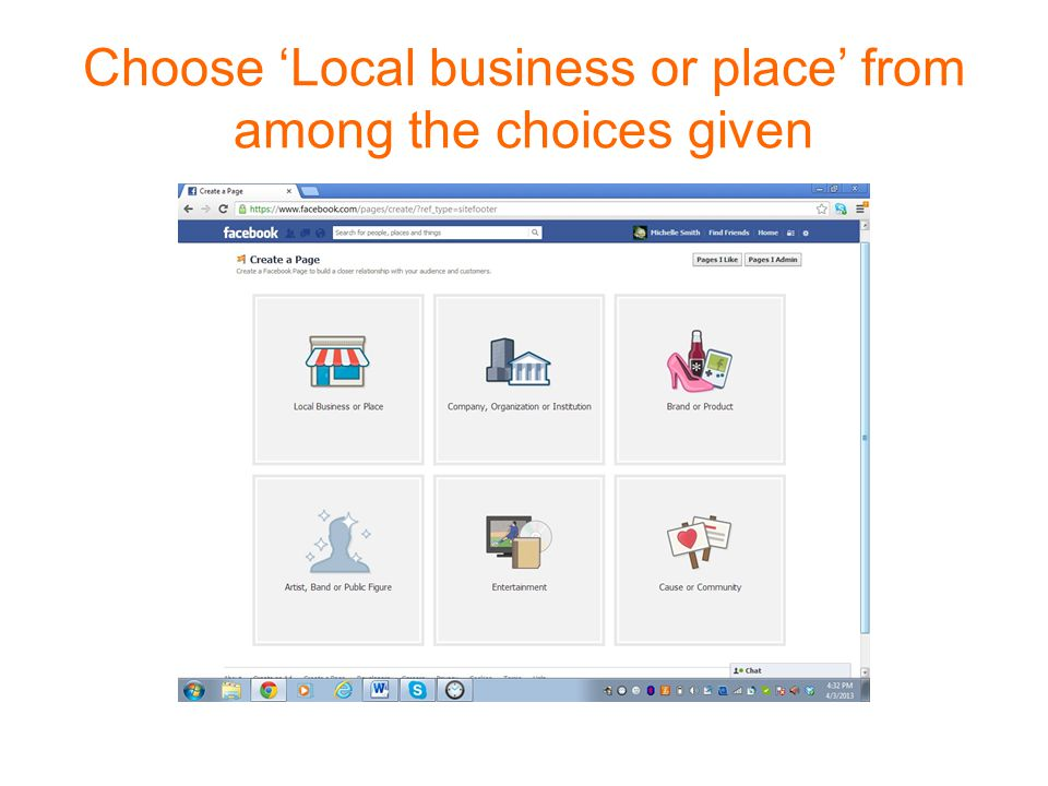 Choose 'Local business or place' from among the choices given
