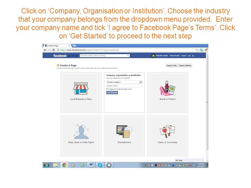 Click on 'Company, Organisation or Institution'.