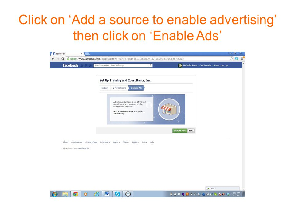 Click on 'Add a source to enable advertising' then click on 'Enable Ads'
