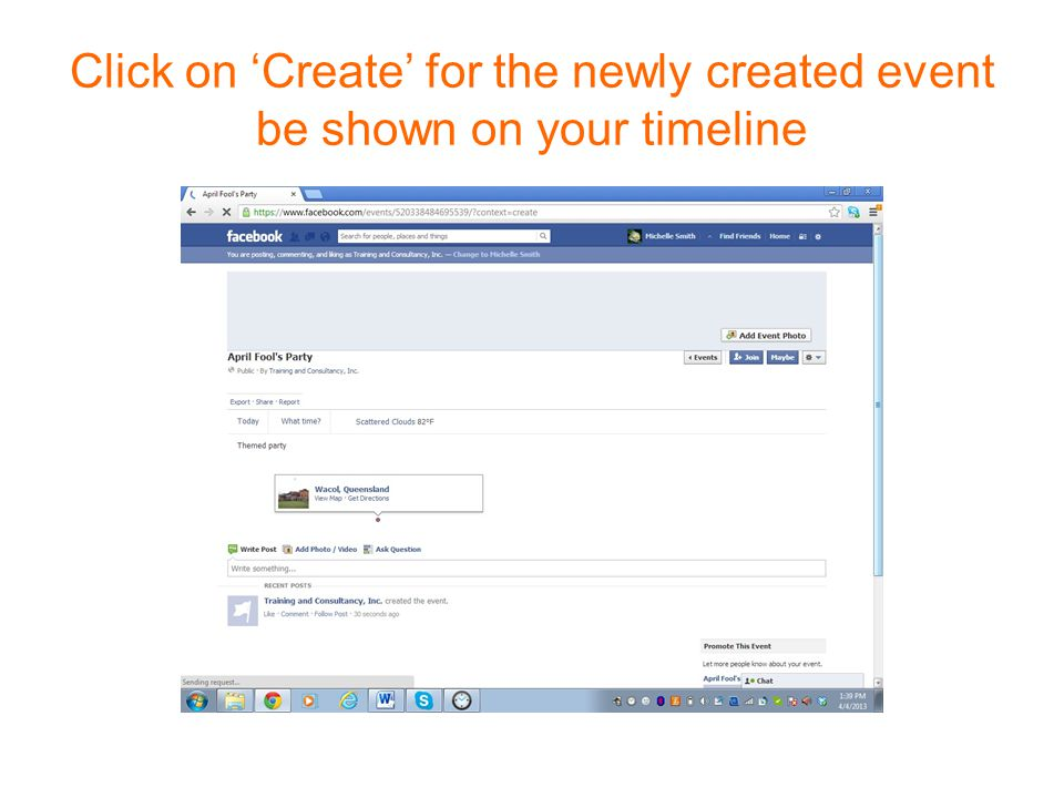 Click on 'Create' for the newly created event be shown on your timeline