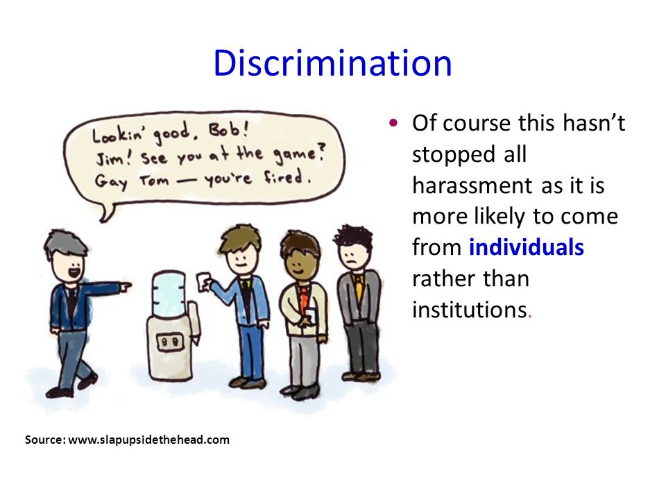 Discrimination Source: www.slapupsidethehead.com Of course this hasn't stopped all harassment as it is more likely to come from individuals rather than institutions.