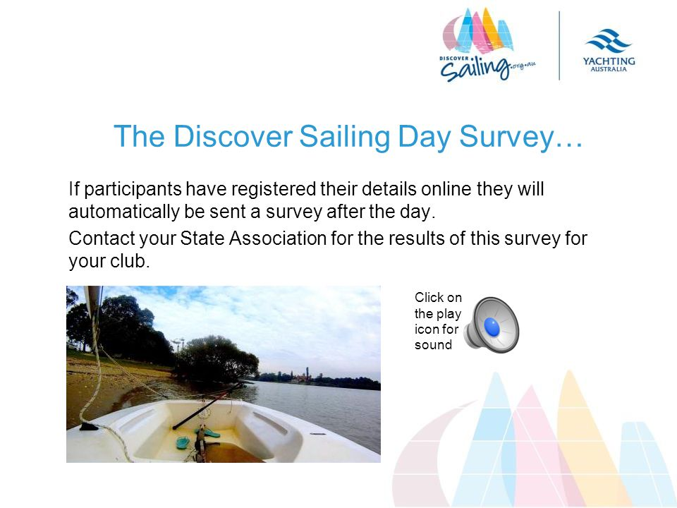 The Discover Sailing Day Survey… If participants have registered their details online they will automatically be sent a survey after the day.