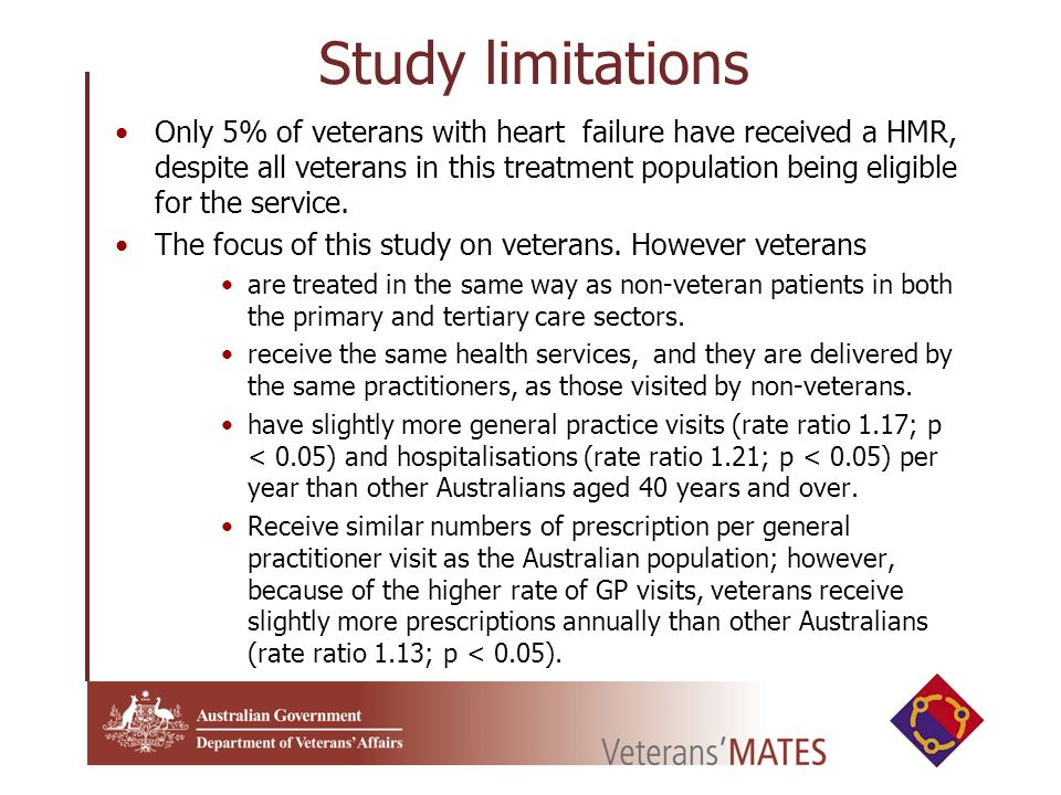 Study limitations Only 5% of veterans with heart failure have received a HMR, despite all veterans in this treatment population being eligible for the service.