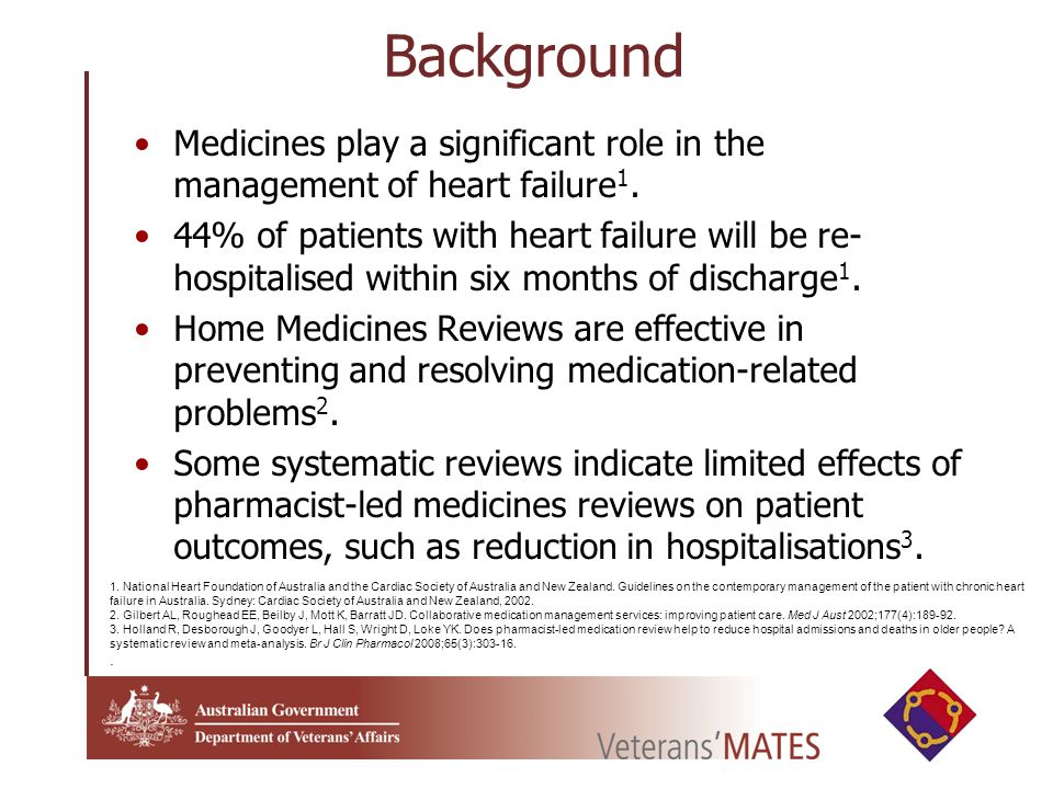 Background Medicines play a significant role in the management of heart failure 1.