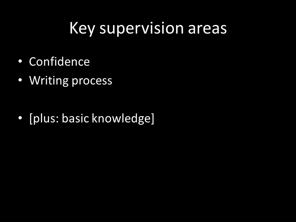 Key supervision areas Confidence Writing process [plus: basic knowledge]