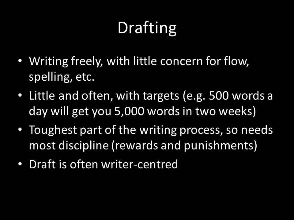 Drafting Writing freely, with little concern for flow, spelling, etc.