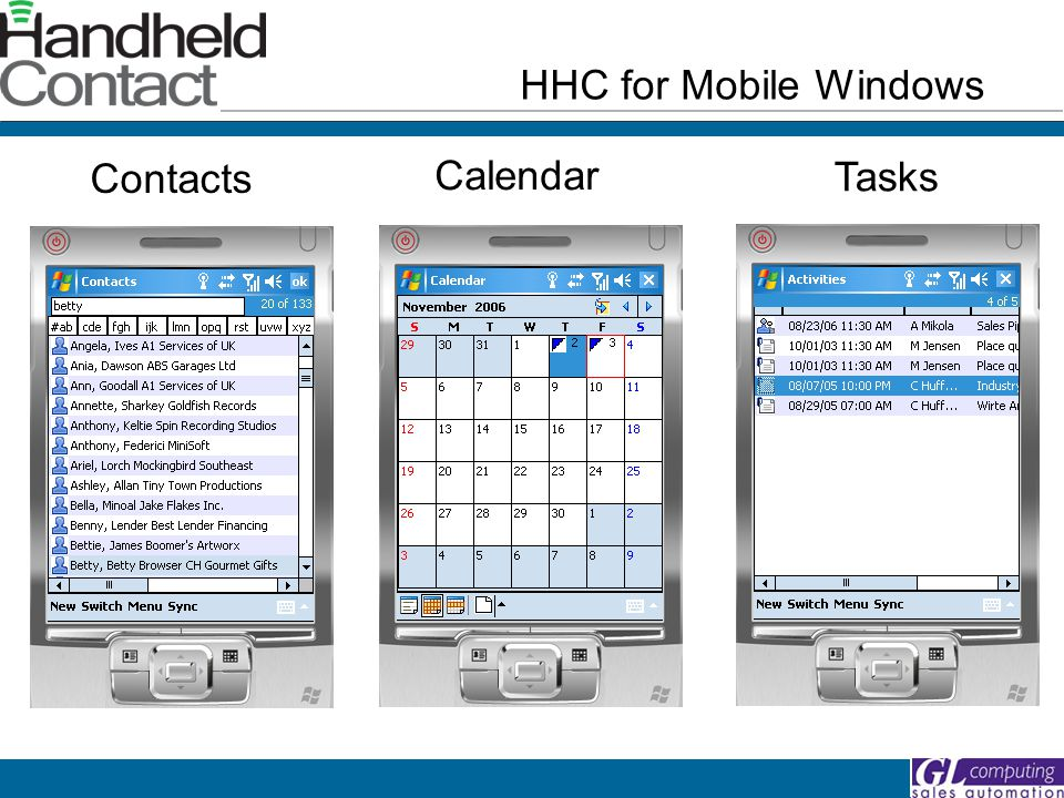 HHC for Mobile Windows Contacts Calendar Tasks