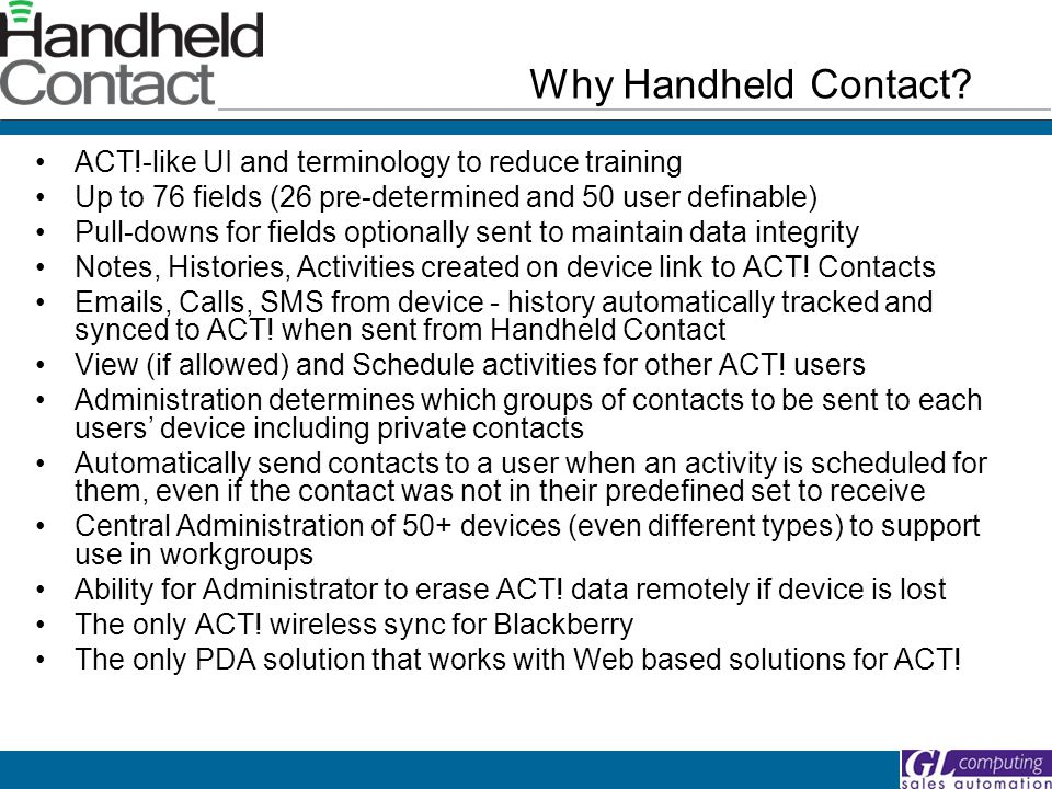 Why Handheld Contact.
