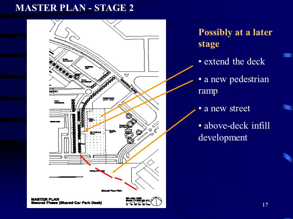 17 Possibly at a later stage extend the deck a new pedestrian ramp a new street above-deck infill development MASTER PLAN - STAGE 2